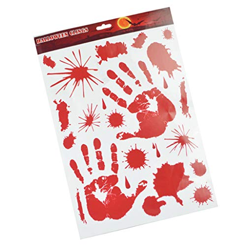 SM SunniMix Halloween Window Floor Stickers Handprint Footprint with Bloodstain Decorations - Bloody -