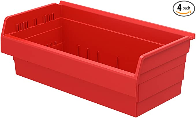 Akro Mils 30820 Shelfmax 8 Plastic Nesting Shelf Bin Box 12 Inch X 22 Inch X 8 Inch Red 4 Pack Home Improvement Amazon Com
