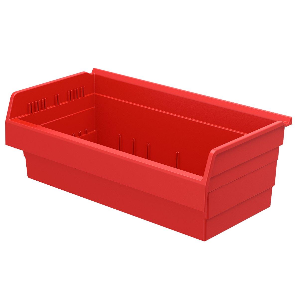 Akro-Mils 30820 ShelfMax 8 Plastic Nesting Shelf Bin Box, 12-Inch x 22-Inch x 8-Inch, Red, 4-Pack