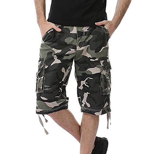 iLXHD Men's Summer Casual Camouflage Pocket Beach Work Shorts Board Shorts