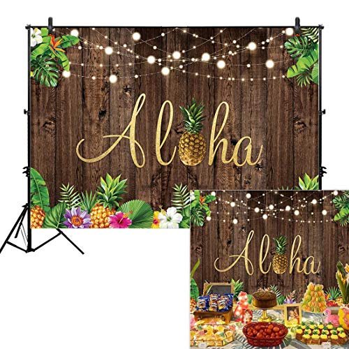 Allenjoy 7x5ft Aloha Rustic Wooden Backdrop for Summer Tropical Hawaiian Beach Luau Party Photography Background Birthday Banner Pineapple Floral Flowers Prom Baby Shower Photo Booth Shoot Decor]()