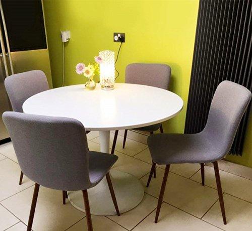 Set Of 4 Grey Fabric Cushion Chairs Sturdy Metal Legs