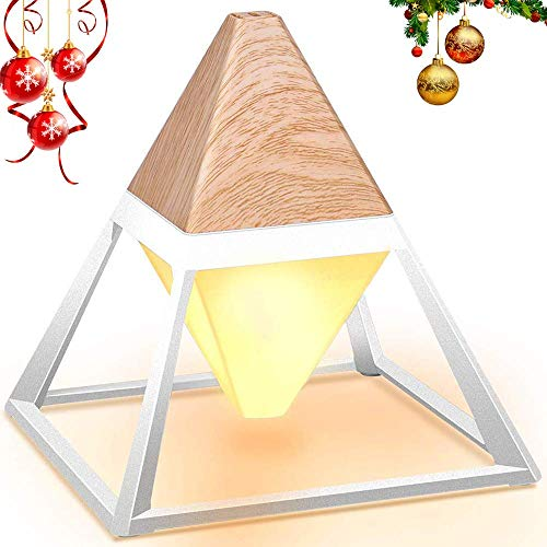 Promotion LED Table Lamp Pyramid Wood Grain Eye-Care Table Reading Light USB Charge Dimensional for Adults Living Room, Kids Room Office (3 - Fixture Cable Pyramid