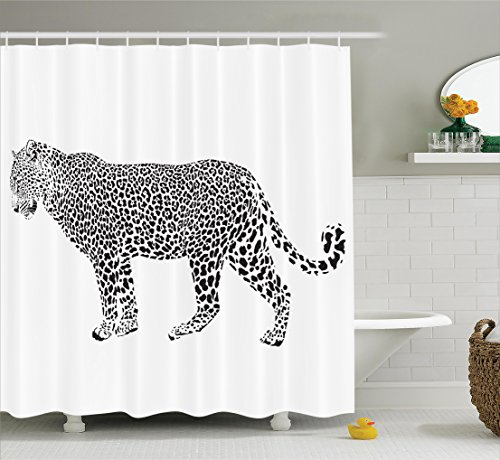 Jaguar Shower Curtain Set with Hooks, Black and White