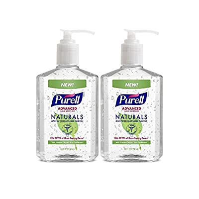 PURELL Naturals Advanced Hand Sanitizer - Hand Sanitizer Gel with Essential Oils, 12 fl oz Pump Bottle