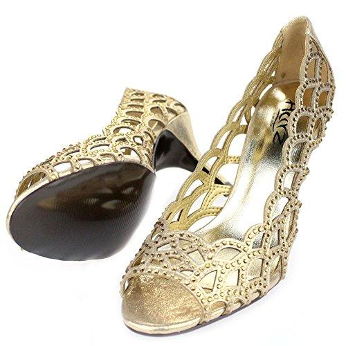 Aarz señoras de las mujeres del alto talón del dedo del pie del pío de Banquete de boda de la tarde Diamante calzan el tamaño (oro, plata, champán, Negro) Gold