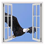 Alonline Art Eagle In The Sky Fake 3D Window FRAMED STRETCHED CANVAS (100% Cotton) Gallery Wrapped - READY TO HANG   30''x30'' - 76x76cm   For Bedroom Frame Framed Artwork Framed Print Framed Paints