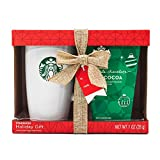 Starbucks Cocoa Travel Mug Gift Set | Includes Double Chocolate Hot Cocoa Mix and Ceramic Travel Mug + Lid