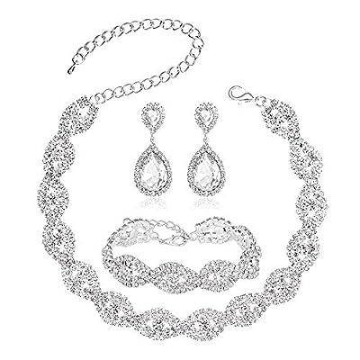 Miraculous Garden Choker Necklace for Women - Jewelry Sets for Women,Rhinestone Crystal Necklace Link Bracelet Teardrop Dangle Earrings for Women,Party Mother's Day Prom Wedding Fashion Jewelry Gift