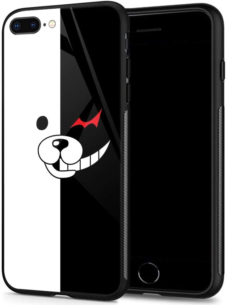 iPhone 8 Plus Cases, Tempered Glass iPhone 7 Plus Case Black and White Bear Pattern Design Black Cover Fashion Case for iPhone 7/8 Plus 5.5-inch Black and White Bear