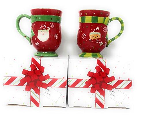 Temp-tations Set of 2 Mugs Winter Whimsy Coffee Mug Set (Santa-Gingerbread) (Gingerbread Set Mug)