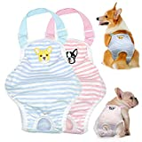 Stock Show Dog Cute Summer Cotton Stripe Sanitary Pantie with Adjustable Strap Suspender Physiological Pants Pet Underwear Diapers Jumpsuits for Girl Dogs Medium Large Corgi French Bulldog, Pink