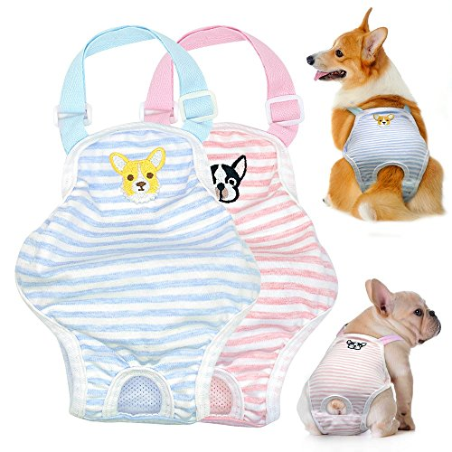 Stock Show Dog Cute Summer Cotton Stripe Sanitary Pantie with Adjustable Strap Suspender Physiological Pants Pet Underwear Diapers Jumpsuits for Girl Dogs Medium Large Corgi French Bulldog, Pink by Stock Show