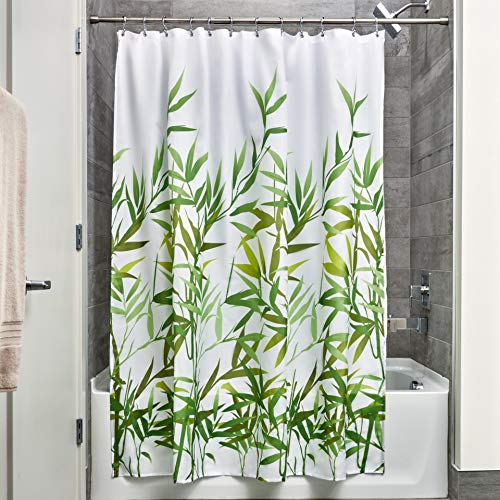 InterDesign Anzu Fabric Shower Curtain, Water-Repellent Bath Liner for Kids', Guest, College Dorm, Master Bathroom, 72