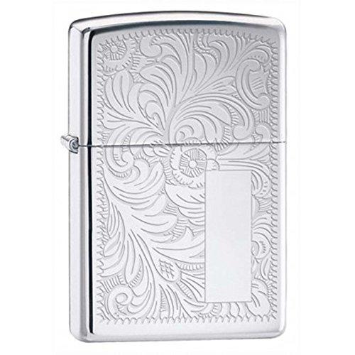 (Venetian High Polish Chrome Zippo Outdoor Indoor Windproof Lighter Free Custom Personalized Engraved Message Permanent Lifetime Engraving on Backside)