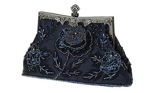 Evening Clutch Women's Rose Beaded ILISHOP Handbag Party Antique Seed Darkblue Exquisite pqCxOZ