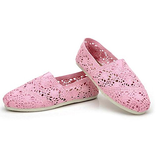 Angelliu Donna Casual Svasata Pizzo Slip On Flats Pigro Mocassini Scarpe Rosa