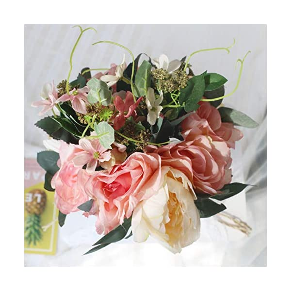 famibay Bridal Wedding Bouquet Artificial Peony Silk Flowers Bouquet Home Wedding Decoration Handmade Bridal Bride Vintage Rustic Style Bouquets Pink