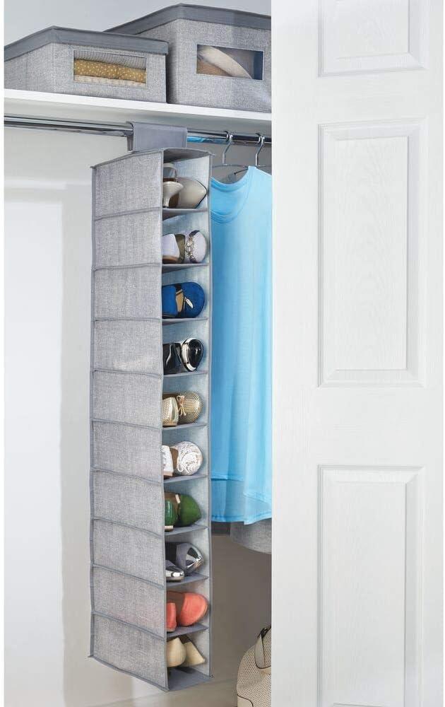 Estanter/ías para zapatos bolsos o carteras para ahorrar espacio mDesign Juego de 2 muebles zapateros para colgar gris oscuro y negro Organizador de zapatos para armario con 10 compartimentos