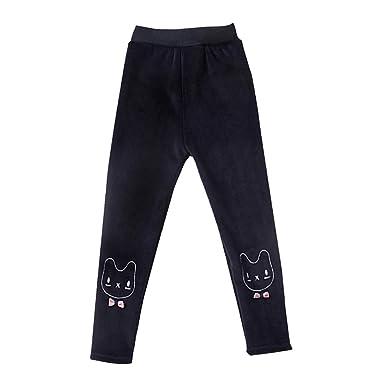 LSERVER Leggings Enfant Filles Automne Hiver Pantalon épais Chaud en Velour Brodé  Collant Fille Pleine Longueur 71d69738f37