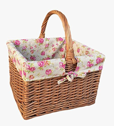 Deluxe Butchers Basket With Rose Lining Shopping Basket