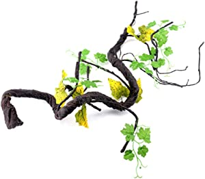 POPETPOP Reptile Vines for Climbing-Artificial Jungle Forest Bend Branch Terrarium Cage Habitat Decor for Lizard Spider Chameleon Snakes Gecko Frogs Small Pet