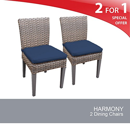 TK Classics Oasis 2 Piece Armless Dining Chairs, Navy (Room Chair Dining Garden Classics)