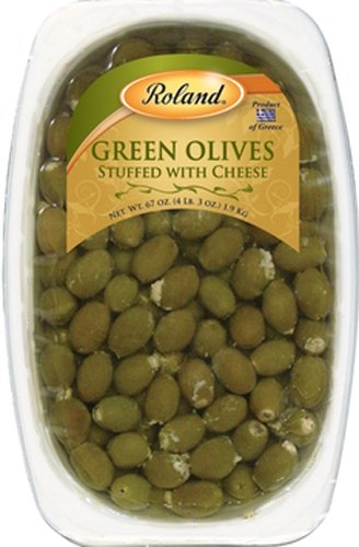 Roland Olives, Green Stuffed with Cheese, 67 Ounce