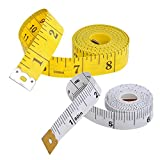 Nightaste Soft Tape Measure for Sewing Tailor Cloth Ruler, Weight Loss Measurement (2 Pack, 60 inch/150cm White,120 inch/300cm Yellow)