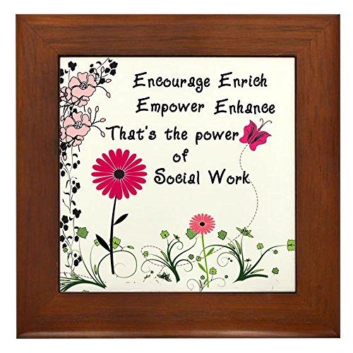 (CafePress Power of Social Work Framed Tile, Decorative Tile Wall Hanging)