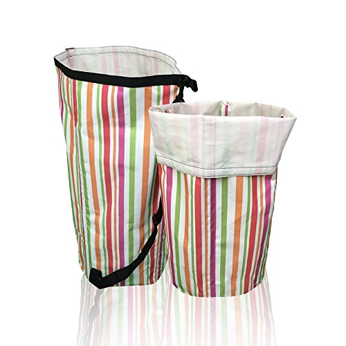 Laundry Hamper - Strap for Easy Carrying, Folds Flat, Longlasting Waterproof Dirty Clothes Basket. Perfect Xmas Gift for Families or Students in College Dorm