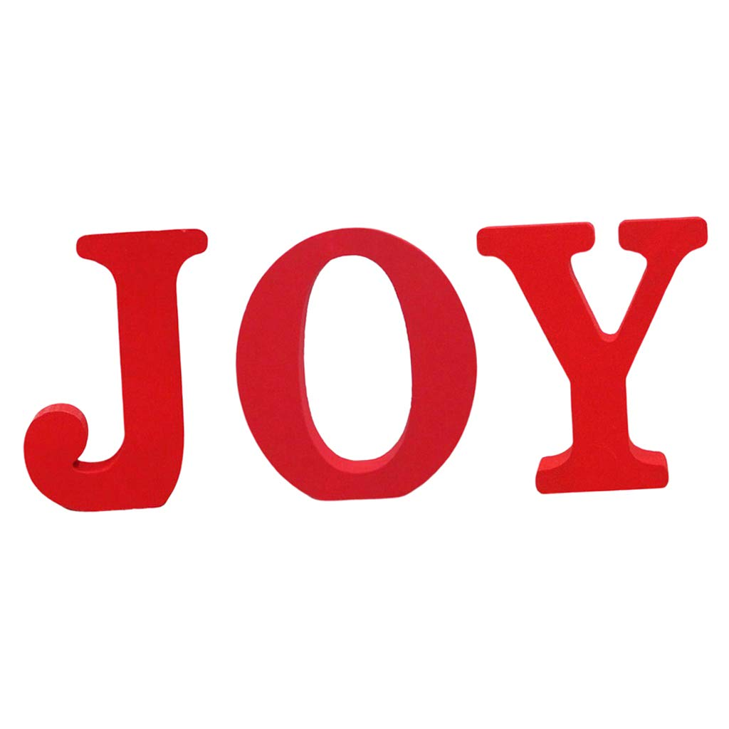 FLAMEER 3-in-1 JOY Wooden English Letters Round Dot for Birthday Party Decoration