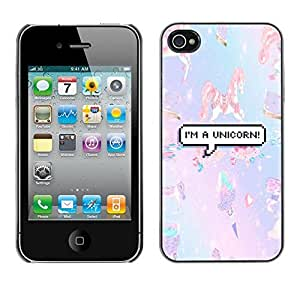 Design Hard ShellUnicorn Pony Little Purple Teal For Apple Iphone 4/4S Case Cover