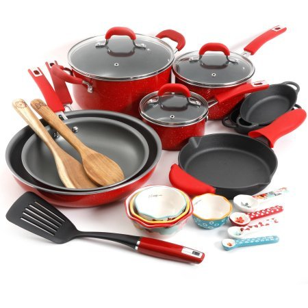 The Pioneer Woman Vintage Speckle 24-Piece Cookware Combo (2 Piece Acacia Silicone)