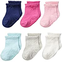 Carter's Baby-Girls Newborn Pointelle Socks, Multi, 0-3/Medium Months (Pack o...