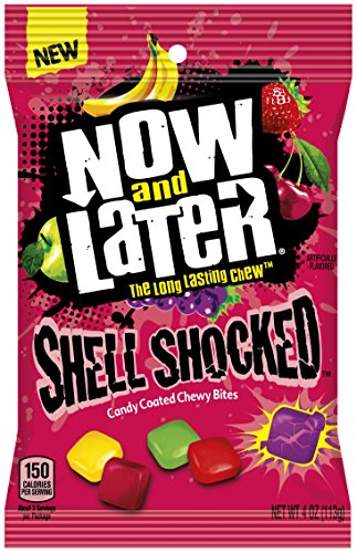 Now & later Shell Shocked Chewy Bites Candy, Mixed Fruit Flavor, 4 Ounce (Pack of 12)