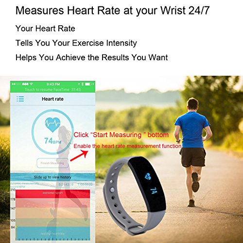 CUBOT V2 Wireless Activity Wristband, Heart Fitness Tracker with a Heart Rate Monitor, Pedometer, Step Counter, Distance Counter, Sleep Monitor, Grey