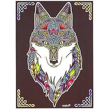 Lamina Para Colorear Con Caja De Rotuladores Lobo Mandala Amazon