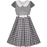 Sunny Fashion LD45 Girls Dress Gray Plaid Belted School Pleated Hem Size 8