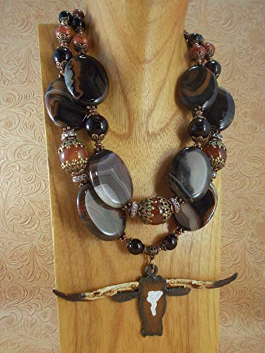 - Western Cowgirl Necklace Set - Chunky Brown Banded Agate - Texas Longhorn