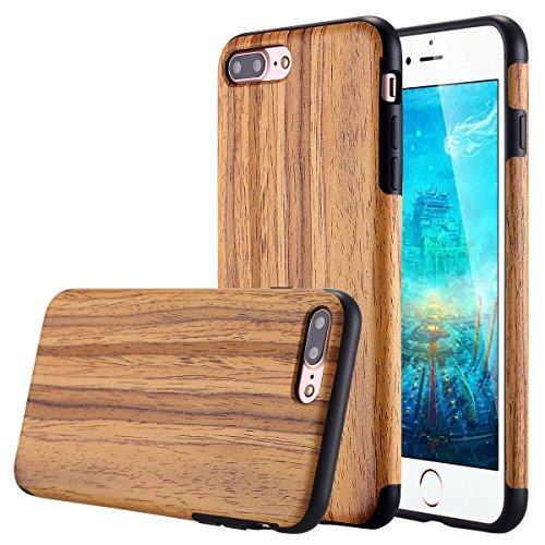(Lontect Compatible iPhone 8 Plus Case, iPhone 7 Plus Case, Slim Matte Shock Absorbing Flex TPU Non Slip Wood Tactile Extra Grip Rubber Bumper Case Cover for Apple iPhone 8 Plus,iPhone 7 Plus, Teakwood)