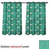 cobeDecor Dinosaur Party Outdoor Curtain for Patio Fossil Animal W108 x L72(274cm x 183cm)