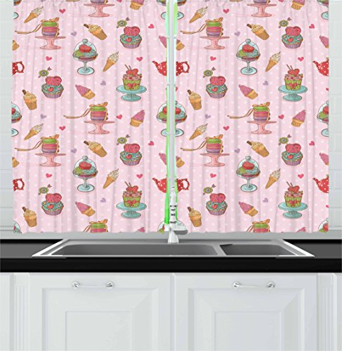 Ambesonne Ice Cream Decor Kitchen Curtains, Retro Cupcakes T