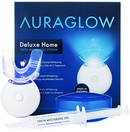 AuraGlow Teeth Whitening Kit, LED Light, 35% Carbamide Peroxide, (2) 5ml Gel Syringes, Tray and Case Carbamide Peroxide Teeth
