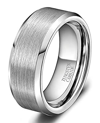 King Will 6MM Tungsten Carbide Men's Wedding Band Ring in Comfort Fit and Matte Finish Any Size Available (8.5)