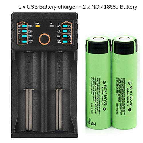1-Pack Battery Charger USB & 2-Pack Rechargeable 3.7V 3400mAh Lithium-ion Battery, for Flashlight Headlmap Power Tools, 18650 Battery and Charger