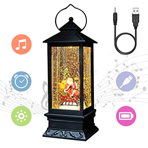 Eldnacele Line in Snow Globe Lantern with Music and Timer, Christmas Decorative Glittering Lantern Light Lamp for Adults and Kids (Santa Claus)