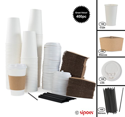 100 Paper Hot Cups With Lids, Sleeves and Stirrers - 16oz Disposable Coffee and Tea Cups for On the Go Beverages - by Sipoes
