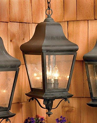 Belmont Outdoor Chandelier - Elk 5314-C Belmont 3-Light Outdoor Hanging Lantern, 9 by 22-Inch, Charcoal Finish