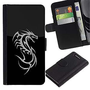 Stuss Case / Funda Carcasa PU de Cuero - Metal Dragon Tribal - Sony Xperia Z3 Compact